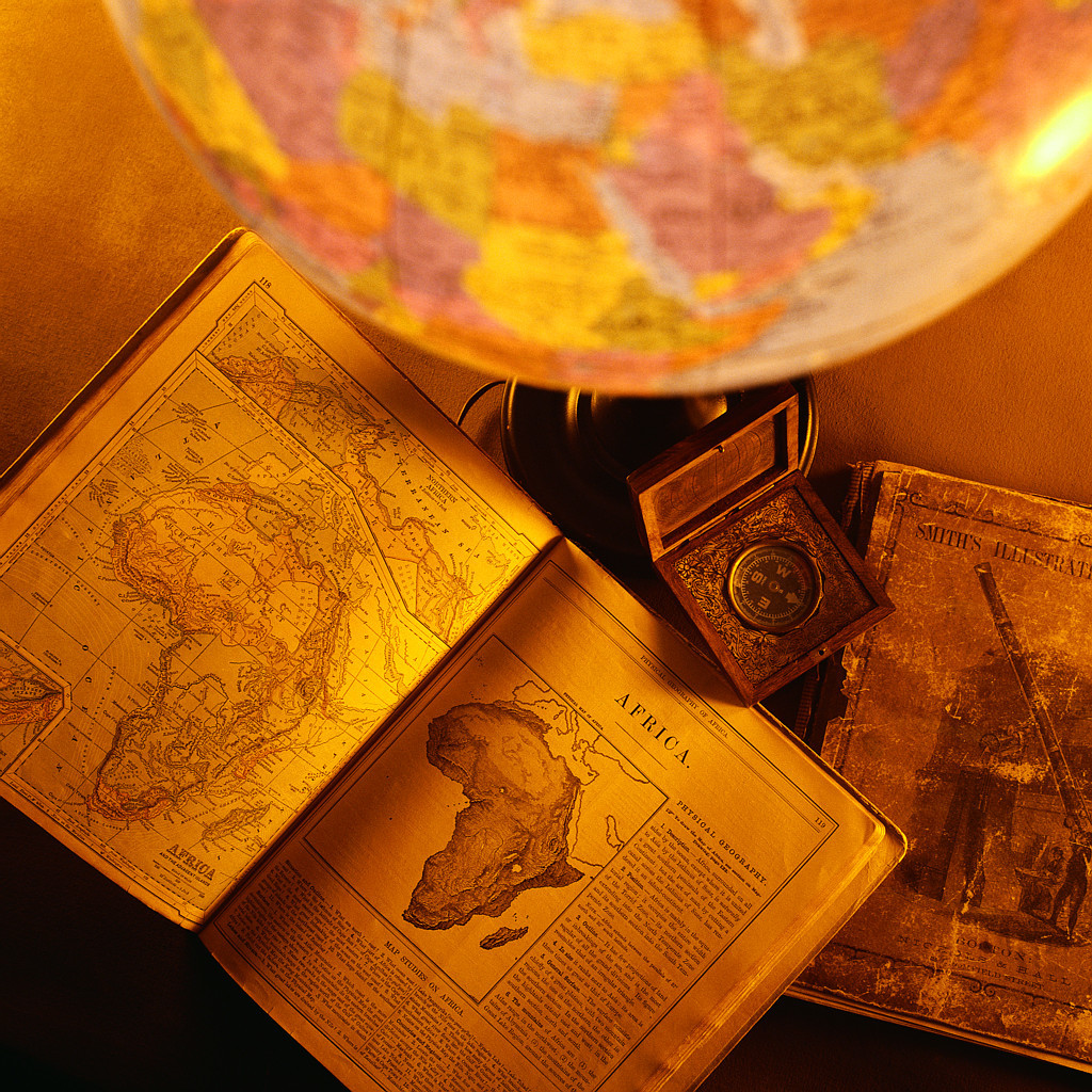 Antique Compass, Maps, and Globe