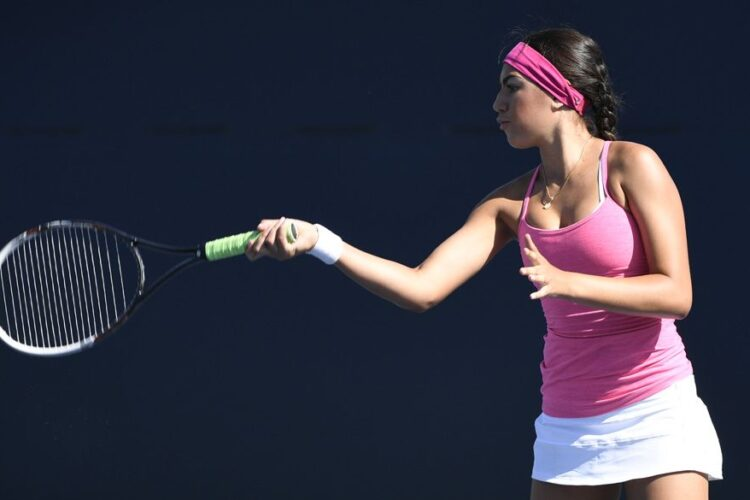 Forehand, a shot played by swinging across the racquet against the body and in the direction where the player wants the ball to go.