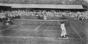 The first Wimbledon championship was held in 1877 on one of the croquet lawns of the All England Croquet and Lawn Tennis Club