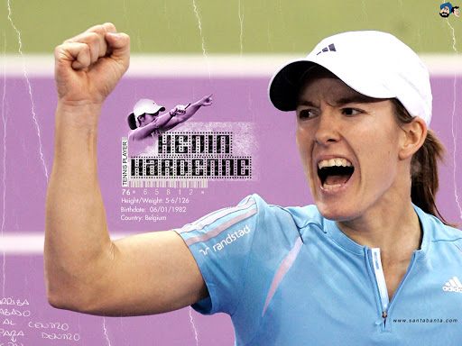 Justine Henin-Hardenne, a Belgian former professional tennis player known for her all-court style of play and notably being one of the few female players to use a single-handed backhand.