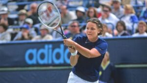 Lindsay Davenport, an American former professional tennis player. She was ranked World No. 1 on eight occasions, for a total of 98 weeks.