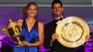 Petra Kvitova and Novak Djokovi, Novak Djokovic and Petra Kvitova swapped their tennis gear for formal wear on Sunday night when they attended the traditional Wimbledon Champions' Dinner.