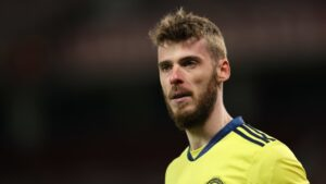 David De Gea, a Spanish professional footballer who plays as a goalkeeper for Premier League club Manchester United and the Spain national team.