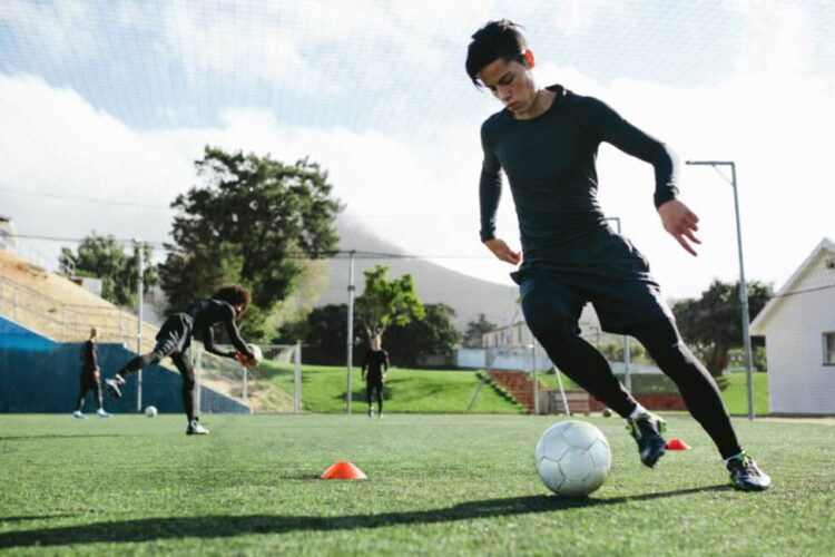 Dribbling in soccer, dribbling is avoiding defenders' attempts to intercept the ball.