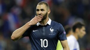 Karim Benzema, a French professional footballer who plays as a striker for Spanish club Real Madrid and the France national team.