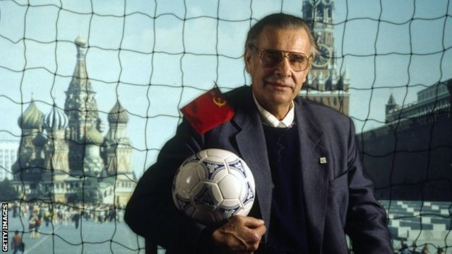 Lev Yashin, a Soviet professional footballer, regarded by many as the greatest goalkeeper in the history of the sport.